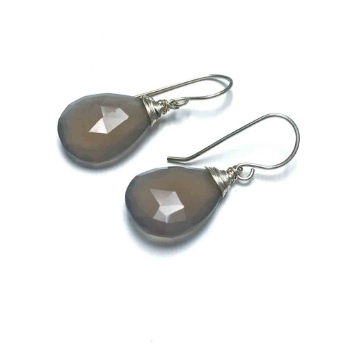 Sterling Silver Faceted Grey Chalcedony Earrings