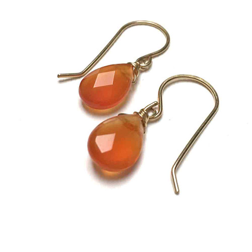 Gold Filled Carnelian Earrings. Red. Faceted Teardrops.