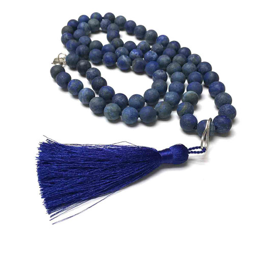 Sterling Silver Hand Silk Knotted Sodalite Necklace with Tassel