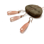 Rose Gold Filled Chalcedony Long Drop Necklace Earrings. Pink.