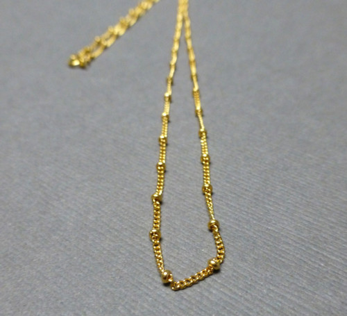 Gold Filled Curb Chain with Bead Finished Necklace. 2mm. Spring Clasp. Satellite Chain.