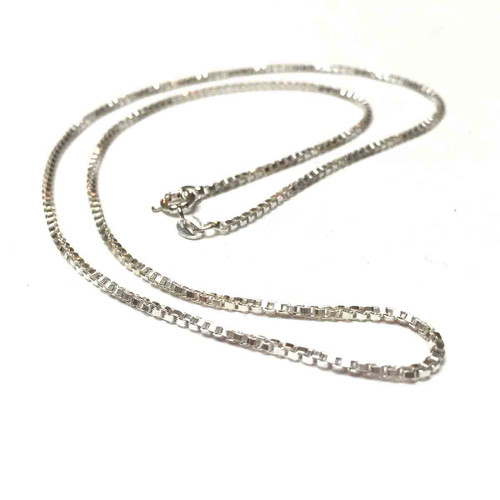 Sterling Silver Box Chain Finished Necklace. Medium Weight Chain.