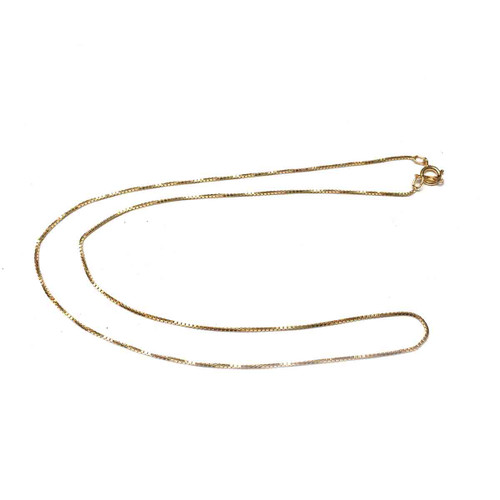 Gold Filled Box Chain Finished Necklace. 16 Inch. .85mm.