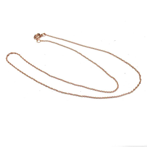 Rose Gold Filled Cable Chain Finished Necklace. 1.1mm. 16 Inch.