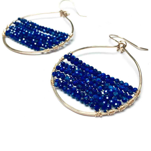 Gold Filled Lapis Lazuli Hoop Earrgins. Royal Blue.