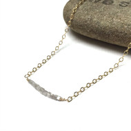 Gold Filled Raw Diamond Necklace. Ice Blue. Richness of Self Talisman