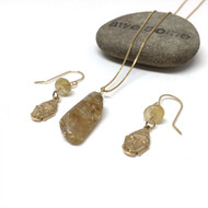Gold Filled Rutilated Quartz Necklace Earrings
