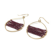 Gold Filled Garnet Hoop Earrings.