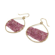 Gold Filled Pink Tourmaline Hoop Earrings