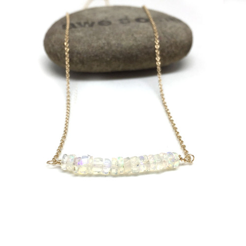 14K Gold Ethiopian Opal Necklace