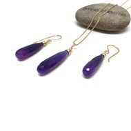 Gold Filled Purple Chalcedony Long Drop Necklace and Earrings