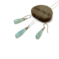 Sterling Silver Smooth Chalcedony Long Drop Necklace Earrings.