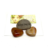 Carnelian Heart Shaped Palm Stone. Stone Blessing. Red. Yellow.