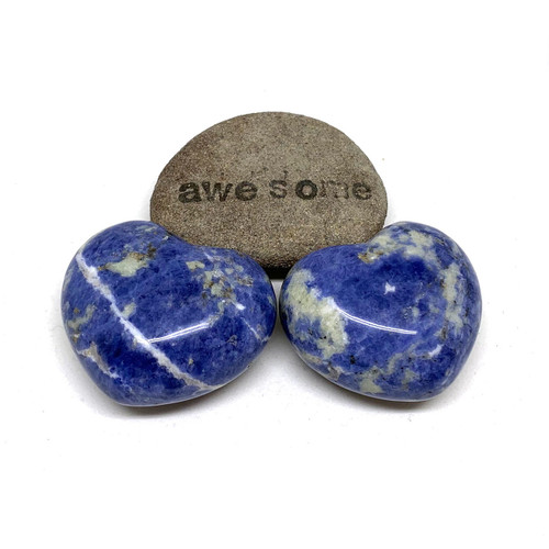 Sodalite Heart Shaped Palm Stone. Stone Blessing. Blue. White.