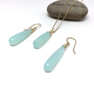 Gold Filled Teal Chalcedony Long Drop Necklace Earrings