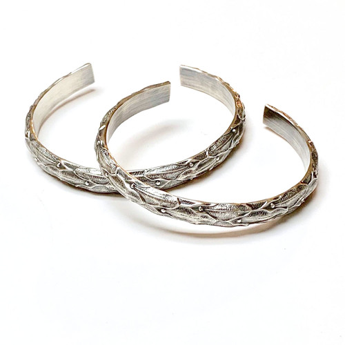 Sterling Silver Heavy Patterned Bangle
