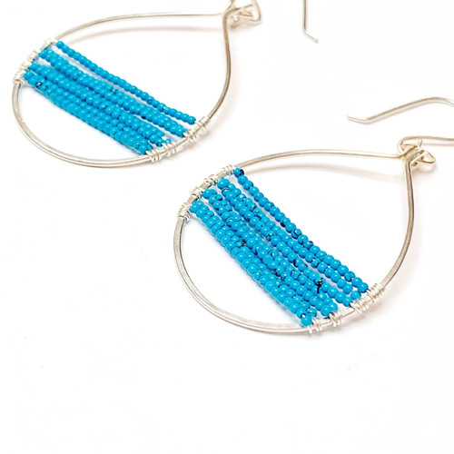 Sterling Silver Turquoise Hoop Earrings.