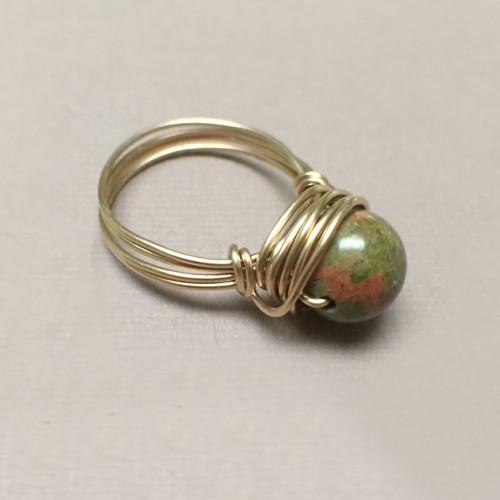 Gold Filled Wire Wrapped Unakite Ring