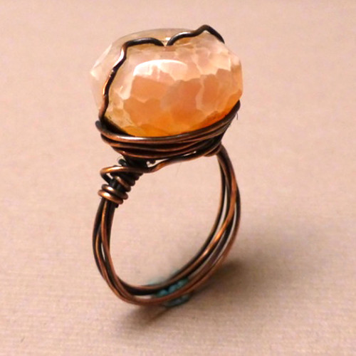 Wire Wrapped Cracked Agate Ring
