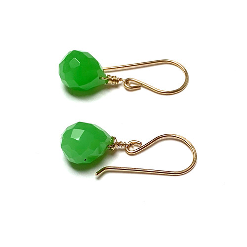 Gold Filled Faceted Jade Briolette Earrings
