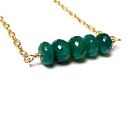 Gold Filled Emerald Bar Necklace