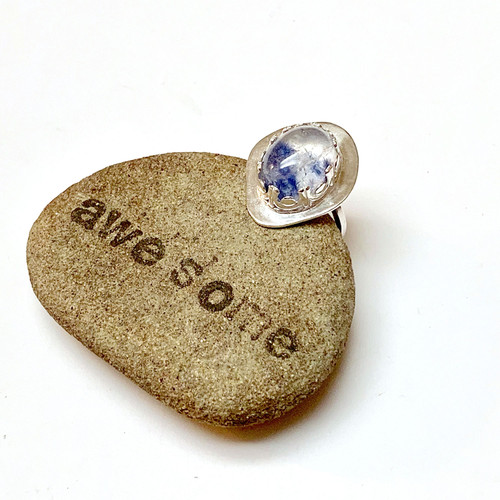 Sterling Silver Dumortierite in Quartz Bezel Set Ring
