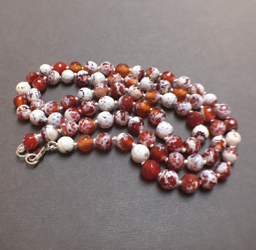 Sterling Silver Hand Silk Knotted Polished Agate Protective Embrace Talisman Necklace
