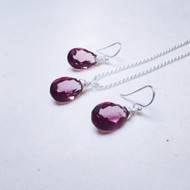 Handmade Sterling Silver Violet Quartz Briolette Necklace and Earrings Set