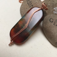 Copper Wrapped Rainbow Agate Protective Embrace Necklace
