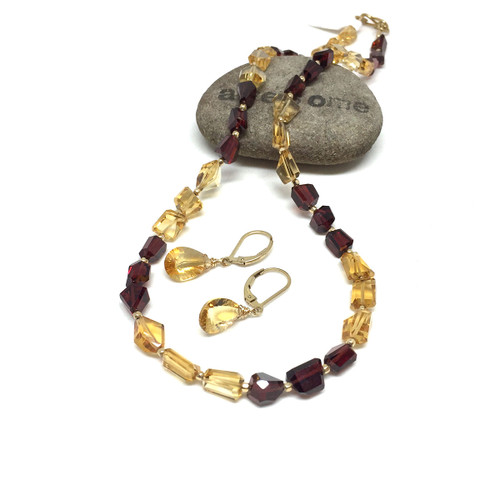 Gold Filled Citrine Mozambique Garnet Necklace Earrings