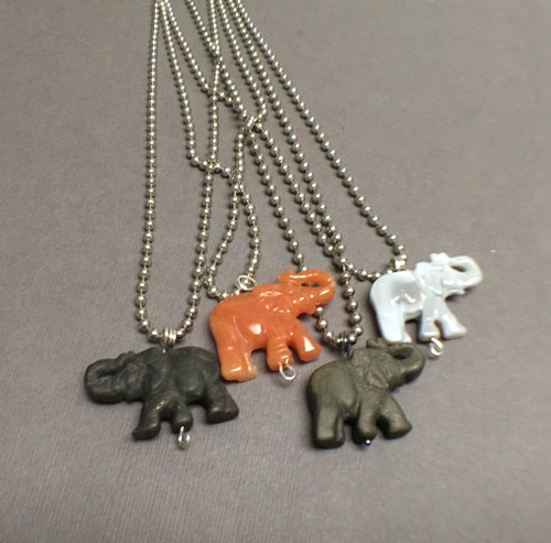 Stainless Steel Carved Agate Elephant Necklace, Protective Embrace Talisman