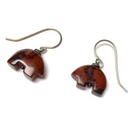 Sterling Silver Mahogany Obsidian Zuni Bear Earrings