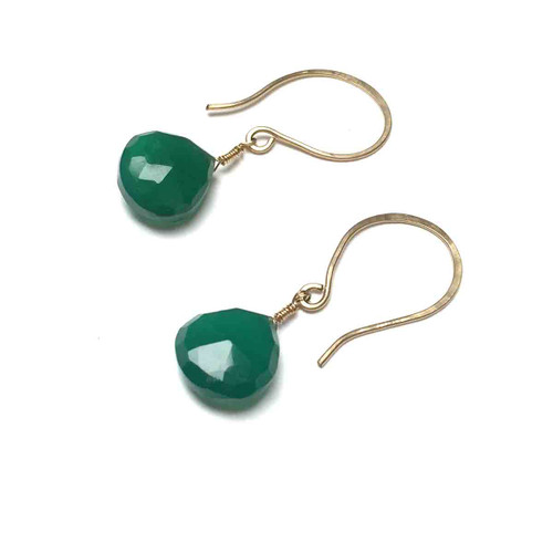 Gold Filled Emerald Green Chalcedony Earrings.
