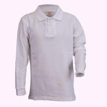 White Long-Sleeve Polo - Youth