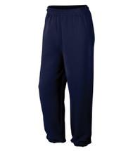13.3-oz, 50/50 cotton/polyester fleece Elastic waistband with drawstring  Elastic cuffs Tear away label
