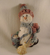 SPARKLY SNOWMAN ... With Broom  *  NEW From Our Retail Shop