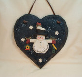 CMI/Henton  ~  SNOWMAN ON HEART ... Welcome Plaque  w/Leather Hanger