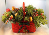 Christmas  ~  RED BASKET ... Filled With Greens & Berries