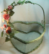 "Olivia Wong ~ Green Wire Basket *10"" Heart Shaped w/Burgandy Florals* NEW From Our Shop"