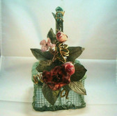 "Olivia Wong ~ GREEN WIRE BASKET w/Burgandy Florals *5.5"" Square* New From Shop"