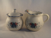 Noel  ~  SUGAR & CREAMER ... Blue/Rose Heart & Flower  *  NEW From Our Retail Shop