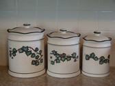 Noel  ~  CANISTER SET Of 3 ... Green Ivy Design  *  NEW From Our Retail Shop