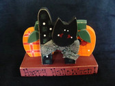 HAPPY HALLOWEEN BLACK CAT...w/2 Pumpkins  *  NEW From Our Retail Shop