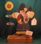 """WOOD SCARECROW ... 12"""" ON STAND  *  NEW From Our Retail Shop"""