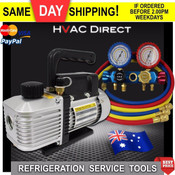 Refrigeration Service Tools - Vacuum Pump, 4 Valve Manifold and Hoses