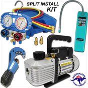 Manifold Kit - Vacuum Pump - Leak Detector - Tube Cutter - Split Systems Install