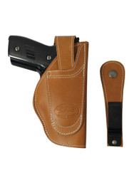 Tan Leather Ambidextrous 360Carry 12 Option OWB IWB Cross Draw Holster for Compact 9mm 40 45 Pistols
