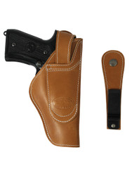 Tan Leather 360Carry 12 Option OWB IWB Cross Draw Holster for Full Size 9mm 40 45 Pistols