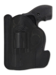 "Black Leather Ambidextrous Pocket Holster for 2"", Snub-Nose .38 .357 Revolvers"