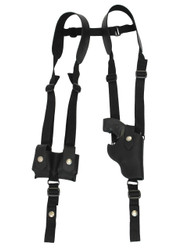 "Black Leather Vertical Shoulder Holster w/ Speed-loader Pouch for 2"" Snub Nose Revolvers"